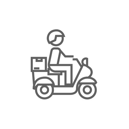 man carrying: Man carrying goods on bike line icon for web, mobile and infographics. Vector dark grey icon isolated on white background. Illustration