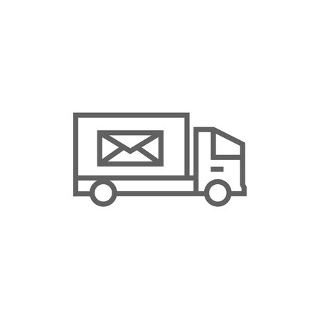 Mail van thick line icon with pointed corners and edges for web, mobile and infographics. Vector isolated icon.