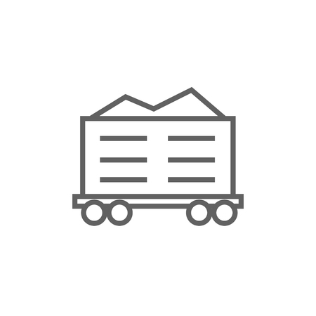 Cargo wagon thick line icon with pointed corners and edges for web, mobile and infographics. Vector isolated icon.
