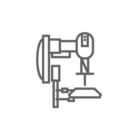 conveyor system: Industrial automated robot thick line icon with pointed corners and edges for web, mobile and infographics. Vector isolated icon.