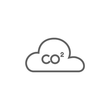 atmospheric: CO2 sign in cloud thick line icon with pointed corners and edges for web, mobile and infographics. Vector isolated icon.