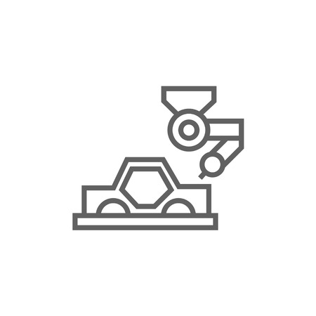 automated: Automated assembly thick line icon with pointed corners and edges for web, mobile and infographics. Vector isolated icon.
