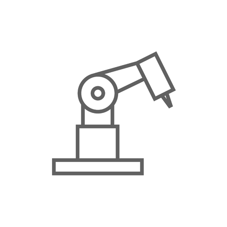 mechanical engineering: Industrial mechanical robot arm thick line icon with pointed corners and edges for web, mobile and infographics. Vector isolated icon.