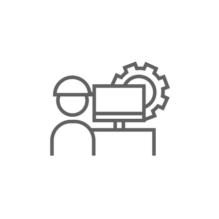 computerized: Industrial worker with computer monitor and gear on background thick line icon with pointed corners and edges for web, mobile and infographics. Vector isolated icon. Illustration