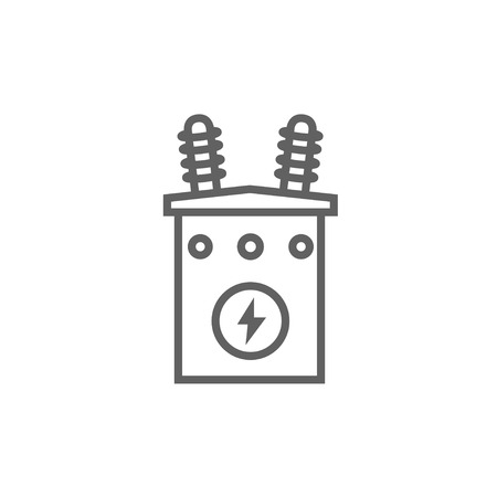 electric power station: High voltage transformer thick line icon with pointed corners and edges for web, mobile and infographics. Vector isolated icon. Illustration