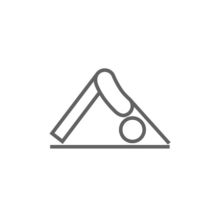 facing: A man standing in yoga downward facing dog pose thick line icon with pointed corners and edges for web, mobile and infographics. Vector isolated icon. Illustration