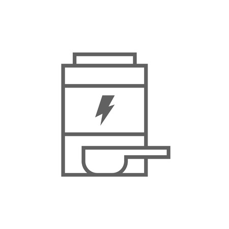 Sport nutrition container thick line icon with pointed corners and edges for web, mobile and infographics. Vector isolated icon.