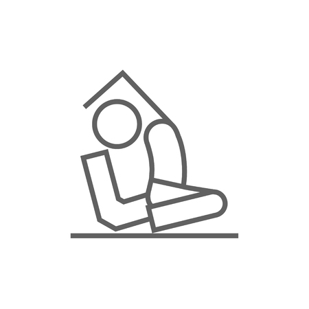 Man sitting in asana eka pada radzhakapotasana thick line icon with pointed corners and edges for web, mobile and infographics. Vector isolated icon.