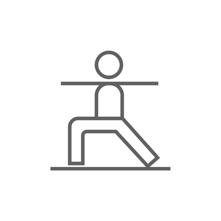 Man in the virabhadrasana II pose thick line icon with pointed corners and edges for web, mobile and infographics. Vector isolated icon.