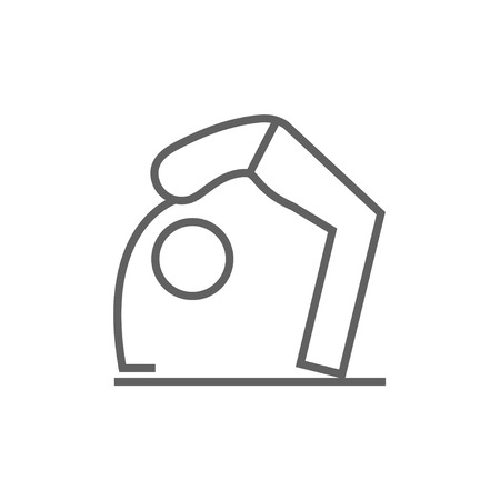 A man practicing yoga chakrasana pose thick line icon with pointed corners and edges for web, mobile and infographics. Vector isolated icon.