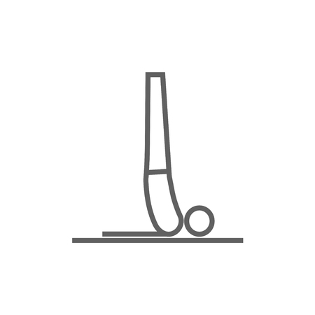 supported: Man doing supported shoulderstand asana thick line icon with pointed corners and edges for web, mobile and infographics. Vector isolated icon. Illustration
