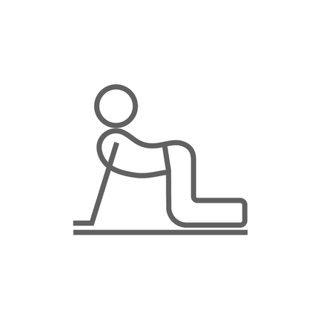 A man practicing yoga cow pose thick line icon with pointed corners and edges for web, mobile and infographics. Vector isolated icon.