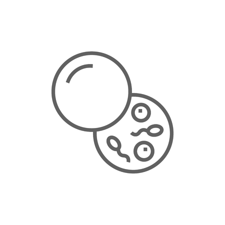fertilisation: Donor sperm line icon for web, mobile and infographics. Vector dark grey icon isolated on white background. Illustration