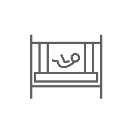 kiddy: Baby laying in the crib thick line icon with pointed corners and edges for web, mobile and infographics. Vector isolated icon.