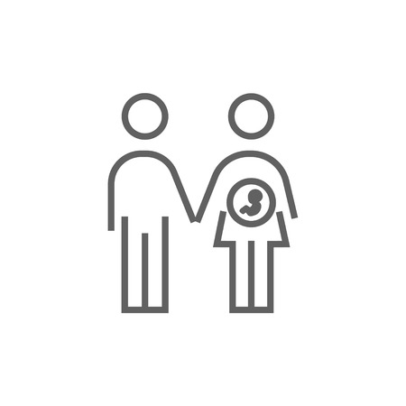 husband and wife: Husband with pregnant wife thick line icon with pointed corners and edges for web, mobile and infographics. Vector isolated icon.