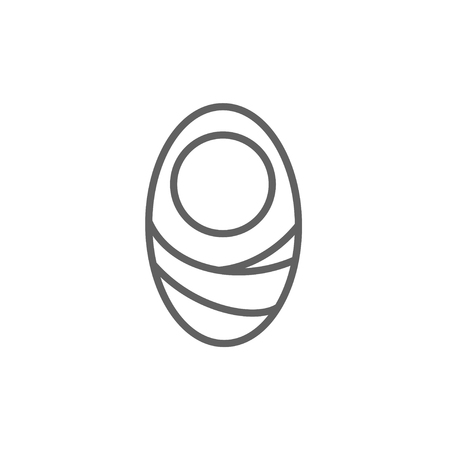 pampers: Infant wrapped in swaddling clothes thick line icon with pointed corners and edges for web, mobile and infographics. Vector isolated icon.