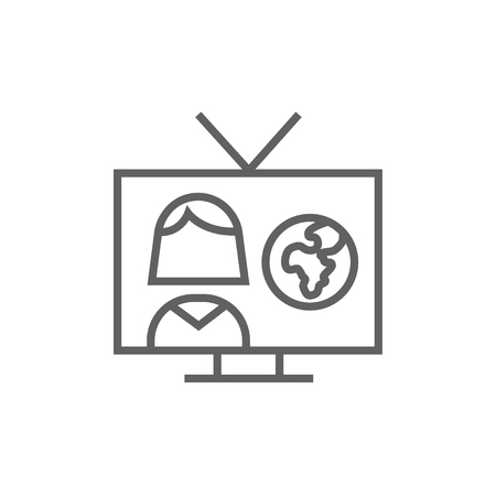 report icon: TV report thick line icon with pointed corners and edges for web, mobile and infographics. Vector isolated icon. Illustration