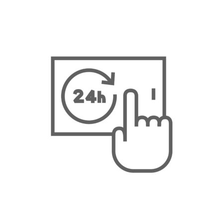 touchscreen: Finger touching 24 hours service button on a touchscreen thick line icon with pointed corners and edges for web, mobile and infographics. Vector isolated icon. Illustration