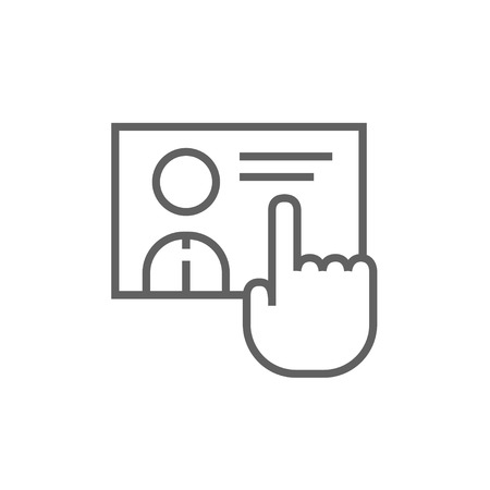 hand touch: Hand pushing touch screen button thick line icon with pointed corners and edges for web, mobile and infographics. Vector isolated icon.