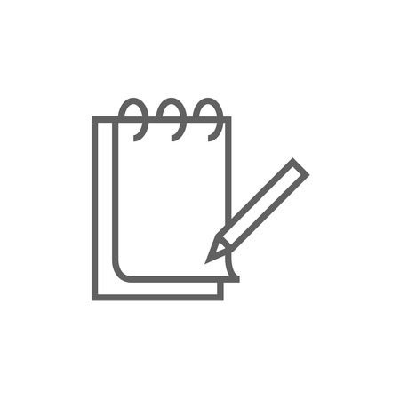 Notepad with pencil thick line icon with pointed corners and edges for web, mobile and infographics. Vector isolated icon. Illustration