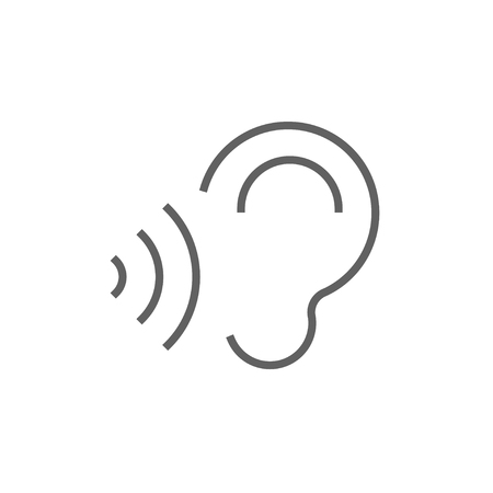 transmit: Ear and sound waves thick line icon with pointed corners and edges for web, mobile and infographics. Vector isolated icon.