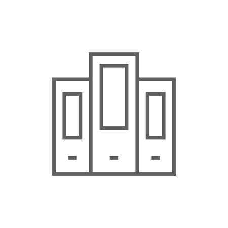 Row of folders thick line icon with pointed corners and edges for web, mobile and infographics. Vector isolated icon.