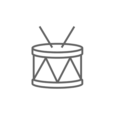 Drum with sticks line icon for web, mobile and infographics. Vector dark grey icon isolated on white background. Illusztráció