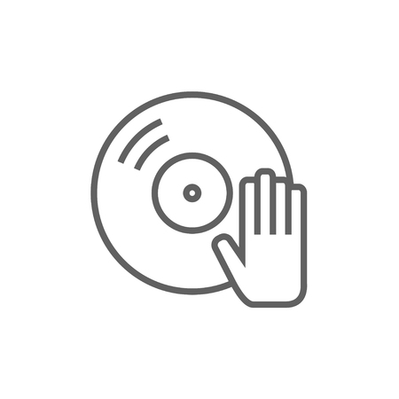 remix: Disc with dj hand line icon for web, mobile and infographics. Vector dark grey icon isolated on white background.