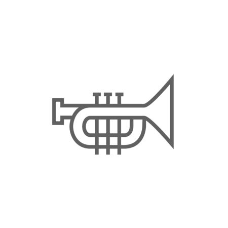 orchestral: Trumpet thick line icon with pointed corners and edges for web, mobile and infographics. Vector isolated icon. Illustration