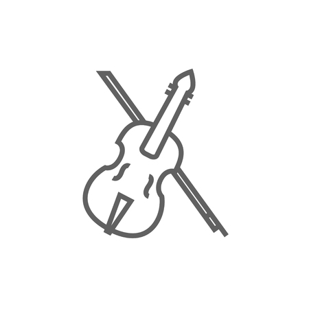 fiddle bow: Violin with bow line icon for web, mobile and infographics. Vector dark grey icon isolated on white background.