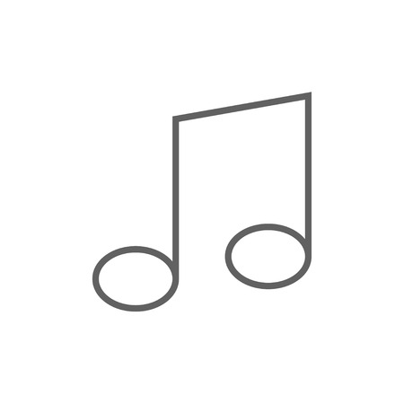 melodies: Music note thick line icon with pointed corners and edges for web, mobile and infographics. Vector isolated icon.