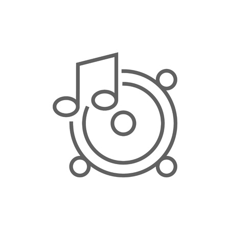 sub woofer: Loudspeakers with music note line icon for web, mobile and infographics. Vector dark grey icon isolated on white background.