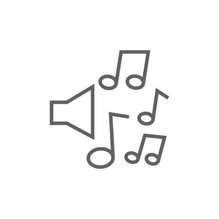 Loudspeakers with music notes thick line icon with pointed corners and edges for web, mobile and infographics. Vector isolated icon.