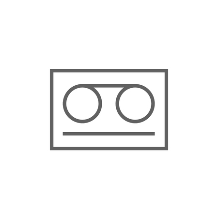 Cassette tape thick line icon with pointed corners and edges for web, mobile and infographics. Vector isolated icon.