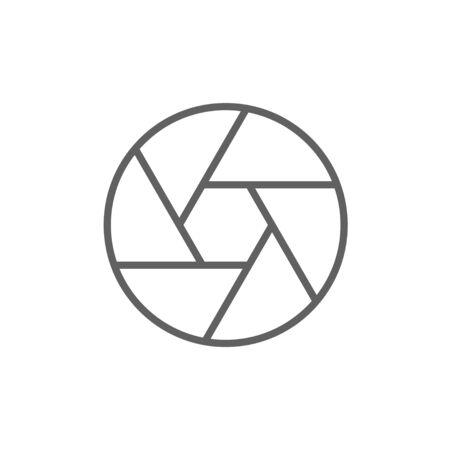 Icona della linea di scatto della fotocamera per web, mobile e infografica. Icona di vettore grigio scuro isolato su priorità bassa bianca. Vettoriali