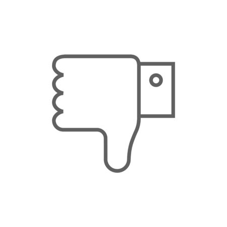 disapprove: Thumb down hand sign thick line icon with pointed corners and edges for web, mobile and infographics. Vector isolated icon. Illustration