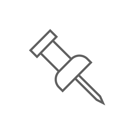 Pushpin thick line icon with pointed corners and edges for web, mobile and infographics. Vector isolated icon.
