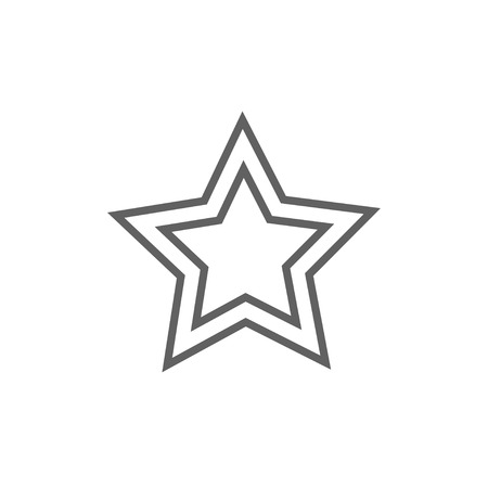 grey: Rating star line icon for web, mobile and infographics. Vector dark grey icon isolated on white background.