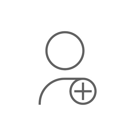 userpic: User profile with plus sign thick line icon with pointed corners and edges for web, mobile and infographics. Vector isolated icon. Illustration