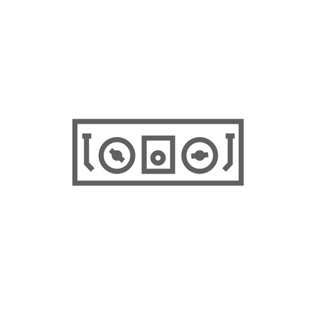 soundtrack: DJ console thick line icon with pointed corners and edges for web, mobile and infographics. Vector isolated icon. Illustration
