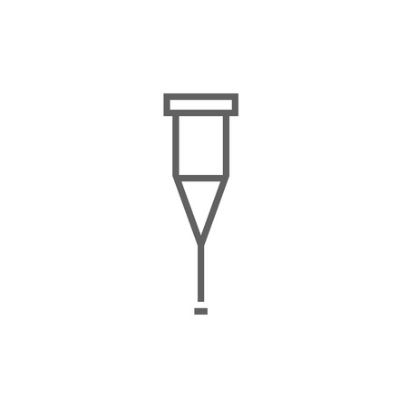 forearm: Crutch thick line icon with pointed corners and edges for web, mobile and infographics. Vector isolated icon.