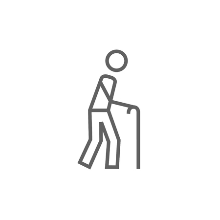 Man walking with cane thick line icon with pointed corners and edges for web, mobile and infographics. Vector isolated icon. Illustration