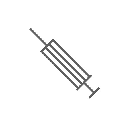 Syringe thick line icon with pointed corners and edges for web, mobile and infographics. Vector isolated icon.
