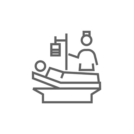 recovering: Nurse attending a patient lying on the bed thick line icon with pointed corners and edges for web, mobile and infographics. Vector isolated icon.