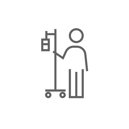 intravenous: Patient standing with intravenous dropper thick line icon with pointed corners and edges for web, mobile and infographics. Vector isolated icon.