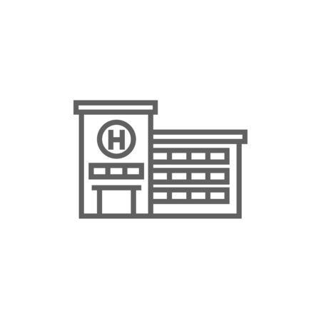 Hospital building thick line icon with pointed corners and edges for web, mobile and infographics. Vector isolated icon. Ilustração