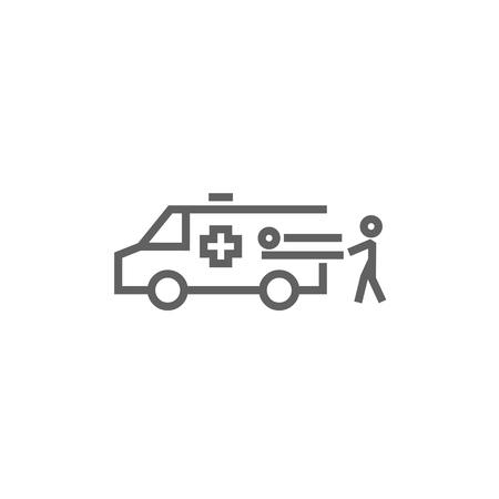 Man pushing stretchers with patient in ambulance car thick line icon with pointed corners and edges for web, mobile and infographics. Vector isolated icon.
