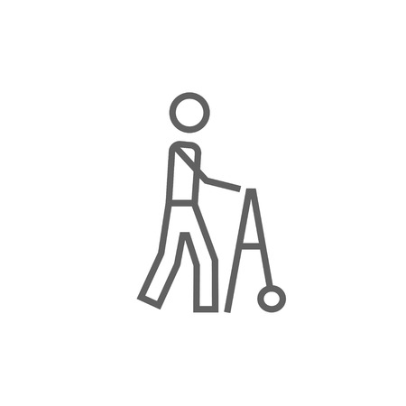 Man with walker thick line icon with pointed corners and edges for web, mobile and infographics. Vector isolated icon.