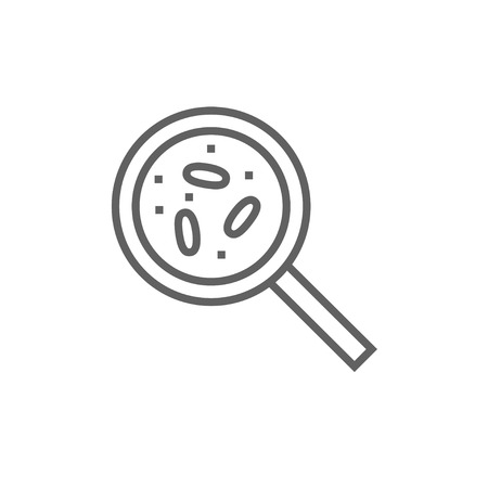 microorganisms: Microorganisms under magnifier line icon for web, mobile and infographics. Vector dark grey icon isolated on white background.
