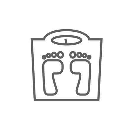 Weighing scale line icon for web, mobile and infographics. Vector dark grey icon isolated on white background. Ilustração